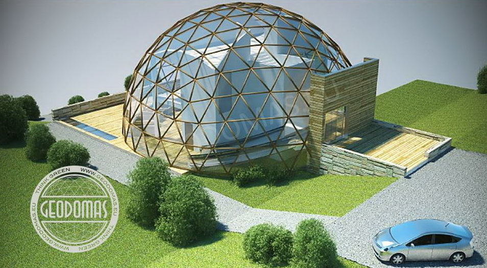 Wood Geodesic Guest House 700m2 For Mountain Landscape
