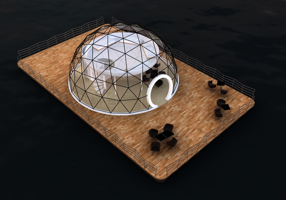 Floating houseboats and floating homes | Geodesic Domes
