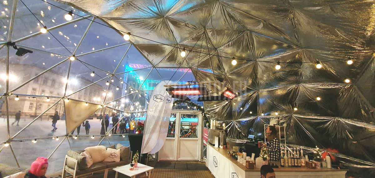 50m² Panoramic Bar Dome Ø8m @ Ice Rink in Lukiškės Square, Vilnius